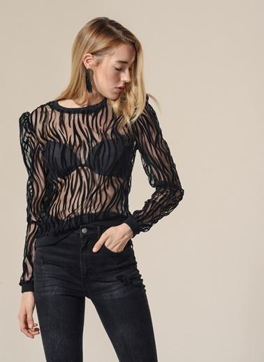 Agenda Zebra Desenli Tül Bluz Siyah